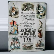 Alice In Wonderland Land Full Of Wonder As Mad As A Hatter Metal Wall Sign