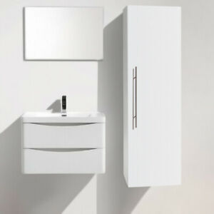120cm High Gloss White Wall Mounted Bathroom Cupboards Unit Cabinet Storage