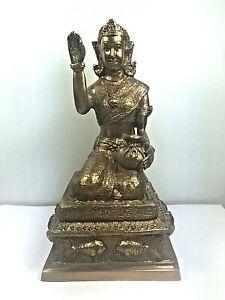 """8.5"""" BRASS NANG KWAK STATUE BUDDHA BUCHA MAGIC LUCK WEALTH TALISMAN THAI AMULET"""