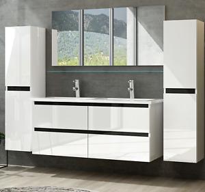 Doppelwaschtisch Weiß Hochglanz Doppel Waschbecken Badezimmer Möbel Badmöbel Set