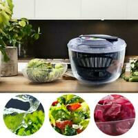 Salad Spinner Vegetable Dry Dehydrator Push-Type Shaking Clear Bowl H3Q5