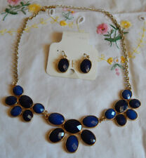 CHARMING CHARLIE NECKLACE AND EARRINGS (NEW) BLUE , BLUE DARK