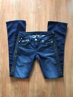 Women's TRUE RELIGION Slim Flare Jeans 27 Dark Wash, Vegan Leather Tuxedo Stripe