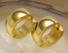 Kikuchi Herren Damen Ohrringe gold hochglänzend Edelstahl Creolen 5mm / 13mm Ø