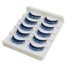 Beauty Blue Fake Eyelashes Fake Diamond W/ Rhinestone Bling Crystal C