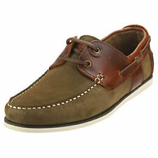 Barbour Capstan Mens Olive Leather Boat Shoes