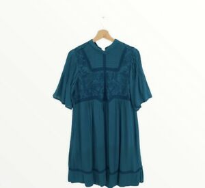 Anthropologie Turquoise Embroidered Midi Dress Size UK 14 missing button