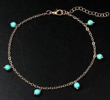 Boho Bohemian Gold Chain Anklet With Small Turquoise Bead Dangles