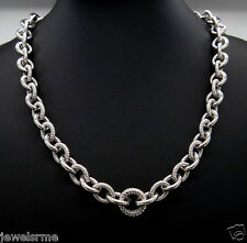 "Judith Ripka Chain Link Smooth Textured Sterling Silver 20"" Cable Link Necklace"