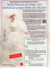 Publicité Advertising  107  1995   Jouets Mattel poupée Barbie Princesse neige