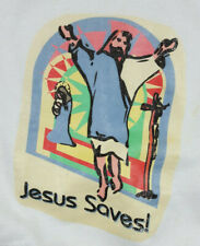 VTG Jesus Saves Mosaic Religious White Crew Neck Sweater Sweatshirt Women's XL