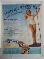 1937 Cruise Into Sunshine with Greyhound bus woman swimsuit vintage ad as is