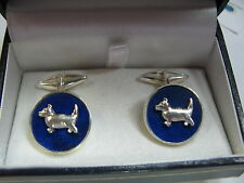 gemelli lapis lazuli con piccoli cani in argento 925 lavorazione artigianale