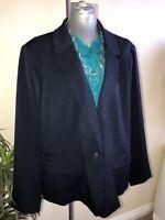 Merona Womens Size 24W Career Business Blazer Jacket Feral Blue New w/Tags