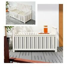 Solid Pine Wood Timber Outdoor Storage Chest Box Bench Seat Chair Stow - White