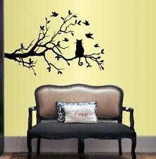 Vinyl Decal Cat on Tree Branch Birds Kids Bedroom Living Room Wall Sticker 629