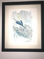 Blue Dragon Fly, Signed Original Watercolour And Ink Painting, Vintage Art, Gift