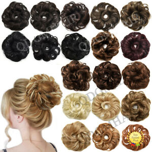 Natural Curly Messy Rose Bun Hair Piece Thick Soft Wrap Updo Scrunchie Ponytail