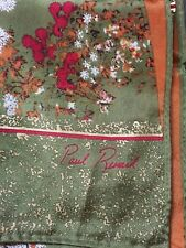 PAUL RENARD SCARF CHINESE MOTIF, OLIVE GREEN, ORANGE AND GOLD VINTAGE