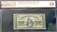 1870 DOMINION  OF CANADA 25 CENTS  FRACTIONAL BANKNOTE F15