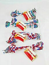 """Small  Rope Bones Knotted Dogs Toys 8.6"""" Long  Toys Assorted Colors Lot of 4"""