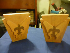 """Vintage Boy Scout Bookends Old wood Vintage 5 1/2"""" tall with Logo & Butterfly"""