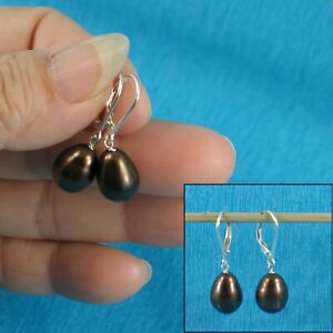 Solid Sterling Silver 925 Leverback Black F/W Cultured Pearl Dangle Earrings TPJ