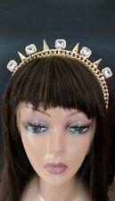 Punk Princess Tiara Headband Rhinestone Gold Spikes: festival, pageant, bridal