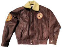 Authentic 2002 Salt Lake City Winter Olympic Brown Leather Bomber Jacket Small