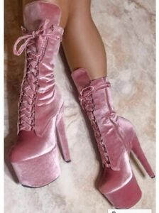 Hella Heels BabyDoll Velvet 7inch Boots - Downtown Doll Uk Size 5- Pink