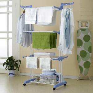 UK Foldable Extra Large 3 Tier Bedroom Outdoor Clothes Airer Laundry Dryer Rack