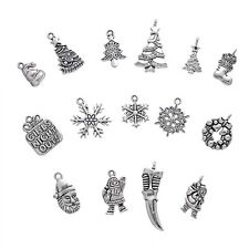 30 Mixed Silver Tibetan Christmas Charms Pendants Jewelry Finding