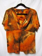 RAFAELLA shirt top blouse XL 14/16 Bust 42-44 V-neck 'Liquid Fabric' Multi-Color