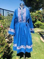 Vintage 70s Indian Gauze Boho Hippie Pleated Dress Metallic dress Loose fit L