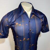 Vtg 60s 70s FAME Disco Shirt Polyester Saturday Night Fever retro MENS MEDIUM