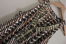 Katies Tribal Print Sequin Detail Shirred waist Top Size 18 Sleeveless Viscose