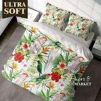 Parrot Leaves Floral Patterns Green Duvet Cover King Bed Single Double Queen