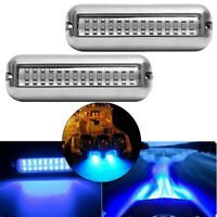2Pcs 42LED Boat Drain Light Boat Transom Light Blue Underwater Pontoon E3K8