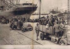 Guerre 1914 1918 Un port américainn en France - l'arrivée des autos-camions
