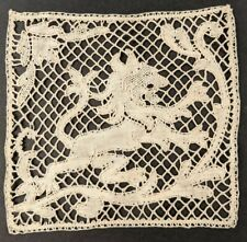 Exceptional Antique Handmade Lion Pattern Needle Lace Applique Trim