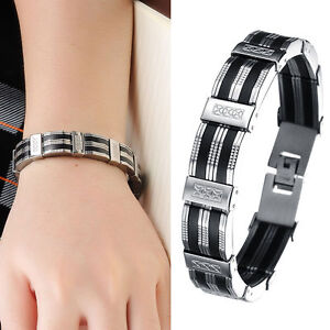 Stainless Steel Chain Black Silicone Link Bracelet Wristband for Men