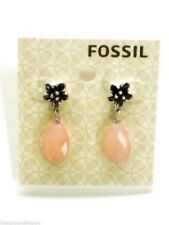 Fossil Earrings Silvertone Pink Blossoms Drop Earrings Post New! NWT