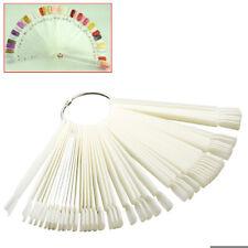 White 50 Display Nail Art Key Ring Wheel Fan Polish Practice Color Pop Tip Stick