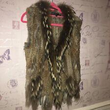 Forever Unique Real Racoon Rabbit Fur Gilet Jacket Waistcoat Brown Coat New 8 10