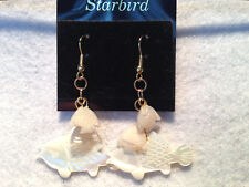 WHITE MOTHER OF PEARL CARVED FISH DANGLE EARRINGS 80's VINTAGE