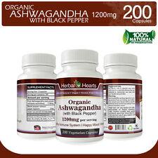 ▶ Ashwagandha with Black Pepper 1200mg   200 Vegetarian Capsules l100% Organic