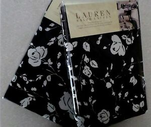 2 New Ralph Lauren PORT PALACE BLACK & White/Cream FLORAL Euro SHAMS