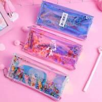 US Sequins Laser Rainbow Glitter Transparent Pencil Case Stationery Storage Bag