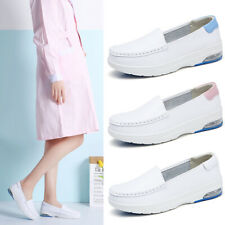 Women Slip on Platform Wedge White Nurse Shoes Loafers Casual Soft Flat Sneakers