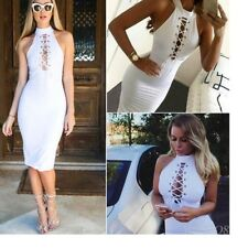 Women Sexy Bandage Bodycon Sleeveless Lace Details Dress Slimming Fitted L 8